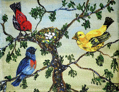 Colorful Nesting Birds Art Print by Ann Ingham