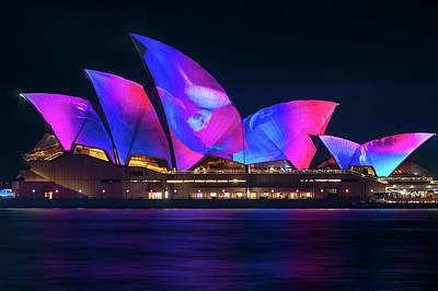 Photograph - Colorful New Designs On The Opera House At Vivid Sydney by Daniela Constantinescu