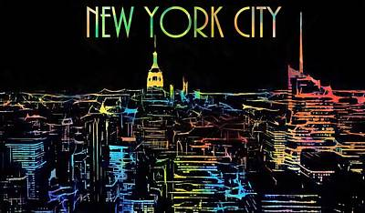 Skylines Paintings - Colorful New York City Skyline by Dan Sproul