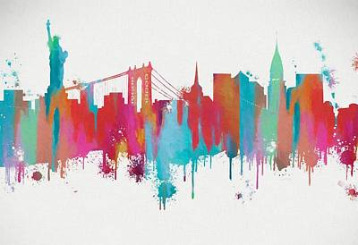 Painting - Colorful New York City Skyline Silhouette by Dan Sproul