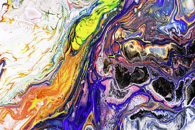 Painting - Colorful Night Dreams 10. Abstract Fluid Acrylic Painting by Jenny Rainbow