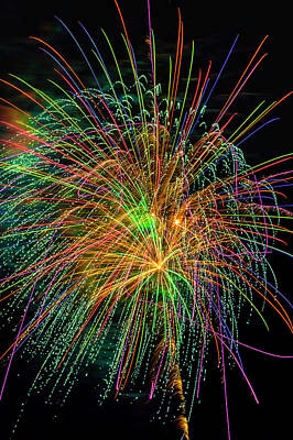 Photograph - Colorful Night Fireworks by Garry Gay
