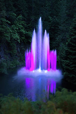 Photograph - Colorful Night Fountain by Michael Bessler