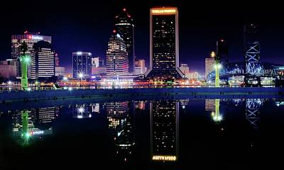 Photograph - Colorful Night Reflection In Jacksonville by Frozen in Time Fine Art Photography