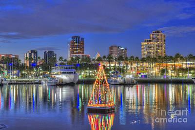 Photograph - Colorful Night Skyline Long Beach by David Zanzinger