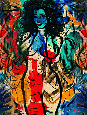 Pin Up Nose Art Painting - Colorful Nude by Natalie Holland