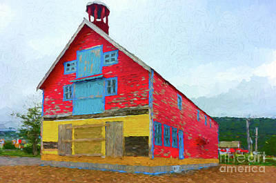 Digital Art - Colorful Old Barn by Les Palenik