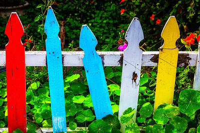 Crooked Photograph - Colorful Old Fence by Garry Gay