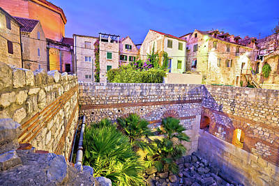 Photograph - Colorful Old Stone Street Of Split Historic City Center Dusk Vie by Brch Photography