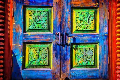Of Painted Door Photograph - Colorful Old Wooden Door by Garry Gay