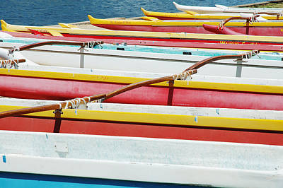 Photograph - Colorful Outrigger Canoes by Mary Van de Ven - Printscapes