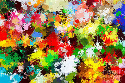 Creativity Photograph - Colorful Paint Splashes Background by Michal Bednarek