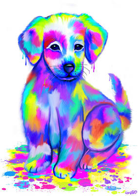 Rainbow Fantasy Art Painting - Colorful Painted Puppy by Nick Gustafson