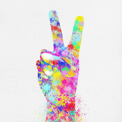 Signed Digital Art - Colorful Painting Of Hand Point Two Finger by Setsiri Silapasuwanchai