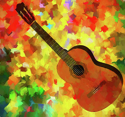 Colorful Palette Knife Guitar Art Print by Dan Sproul