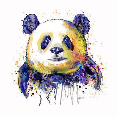 Mixed Media - Colorful Panda Head by Marian Voicu