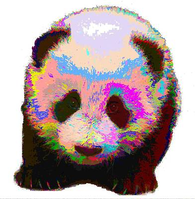 Painting - Colorful Panda by Samuel Majcen