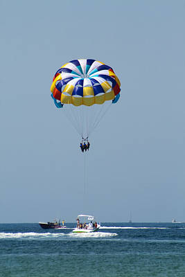 Colorful Parasailing Art Print by Kathy Clark