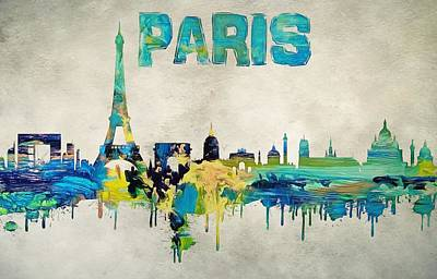 Louvre Mixed Media - Colorful Paris Skyline Silhouette by Dan Sproul
