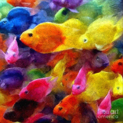 Mixed Media - Colorful Parrot Cichlid Fish by Olga Hamilton