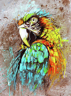 Painting - Colorful Parrot  by Gull G