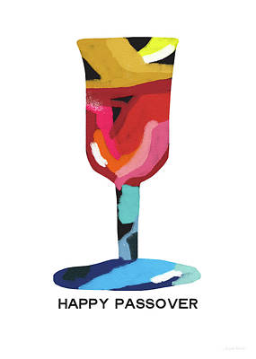 Modern Contemporary Art Mixed Media - Colorful Passover Goblet- Art By Linda Woods by Linda Woods