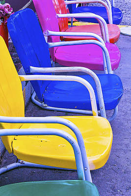 Colorful Patio Chairs Art Print by Garry Gay