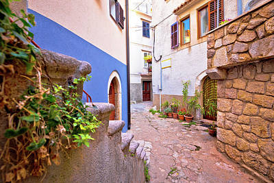 Photograph - Colorful Paved Street Of Old Adriatic Town Vrbnik by Brch Photography