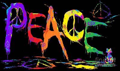 Digital Art - Colorful Peace Cat by Nick Gustafson