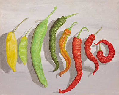 Pepper Painting - Colorful Peppers by Heather Strazza