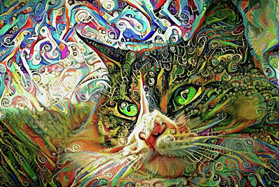 Digital Art - Colorful Persian Cat Art by Peggy Collins