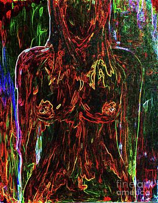 Nude Woman Torso Painting - Colorful Personality by Julie Lueders