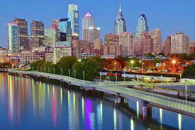 Photograph - Colorful Philly Lights by Frozen in Time Fine Art Photography