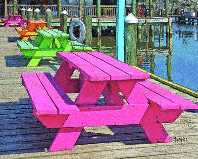 Photograph - Colorful Picnic Tables Pass Christian Ms Marina by Rebecca Korpita
