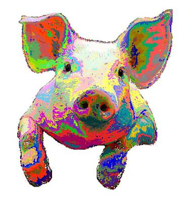 Painting - Colorful Pig by Samuel Majcen