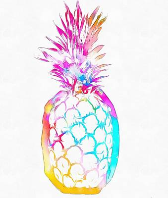 Fruits Mixed Media - Colorful Pineapple by Dan Sproul