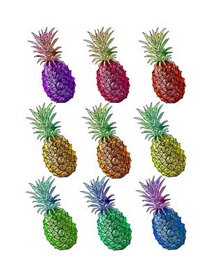 Painting - Colorful Pineapples by Masha Batkova
