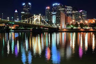 Colorful Pittsburgh Lights Art Print