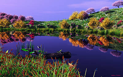 Digital Art - Colorful Pond by Walter Colvin