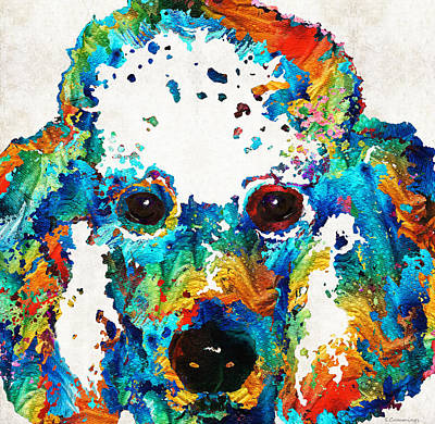 Colorful Poodle Dog Art By Sharon Cummings Print by Sharon Cummings