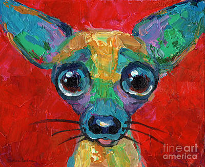 Svetlana Novikova Art Painting - Colorful Pop Art Chihuahua Painting by Svetlana Novikova