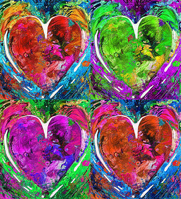 Abstract Art Painting - Colorful Pop Hearts Love Art By Sharon Cummings by Sharon Cummings