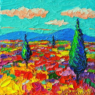 Vivid Colour Painting - Colorful Poppies Field Abstract Landscape Impressionist Palette Knife Painting By Ana Maria Edulescu by Ana Maria Edulescu