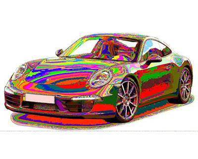Painting - Colorful Porsche 911 by Samuel Majcen