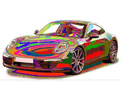 Painting - Colorful Porsche 911 by Samuel Majcen