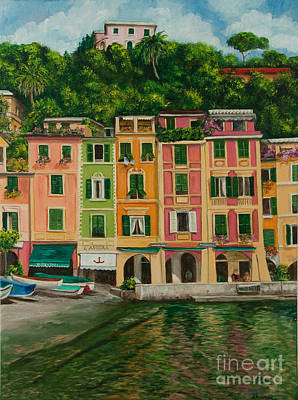 Villa Painting - Colorful Portofino by Charlotte Blanchard