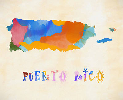Painting - Colorful Puerto Rico Map by Dan Sproul