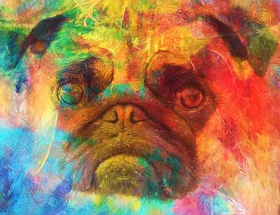 Puppy Mixed Media - Colorful Pug by Dan Sproul