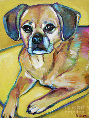 Painting - Colorful Puggle by Robert Phelps