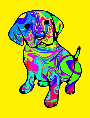 Retriever Digital Art - Colorful Puppy by Chris Butler